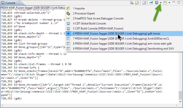 GDB Traces under Console View