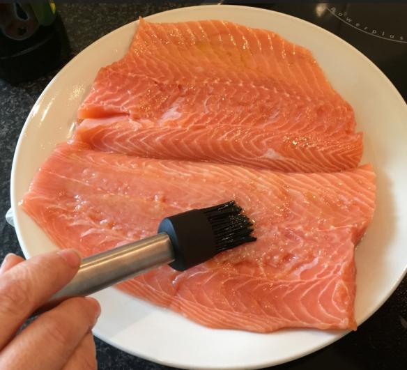 Olive Oil on Salmon