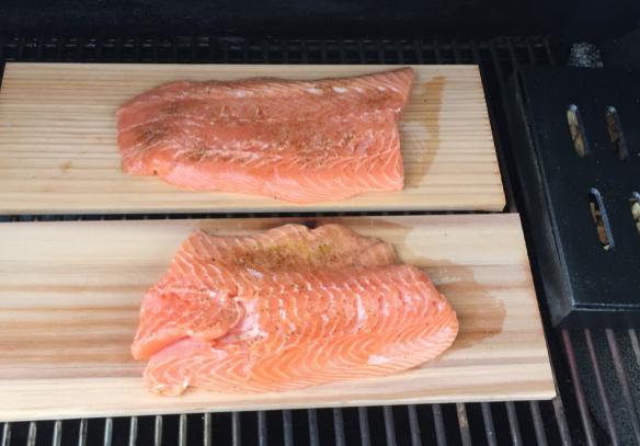 Salmon on Planks