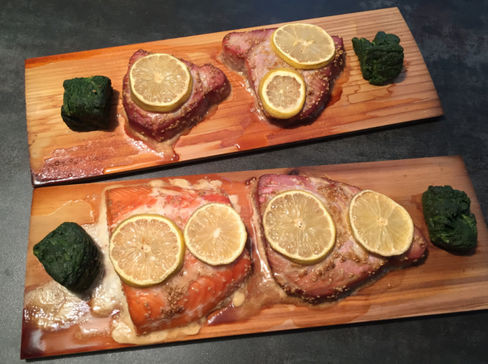 Seasam Tuna And Salmon on Cedar Planks