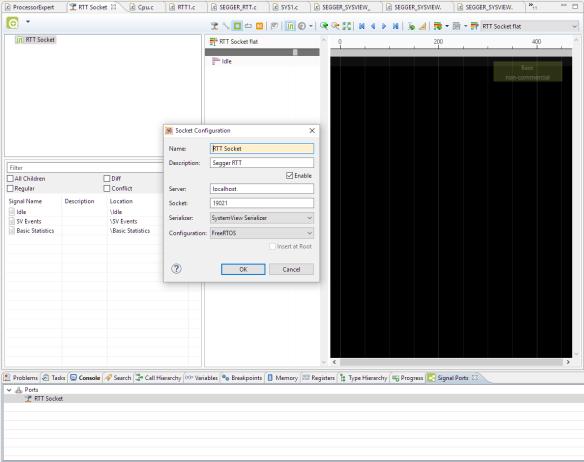 Segger RTT Socket Configuration