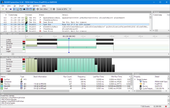 Scheduler time spent in Segger SystemView