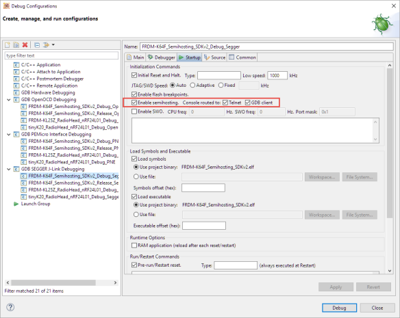 Semihosting in the Debugger Settings