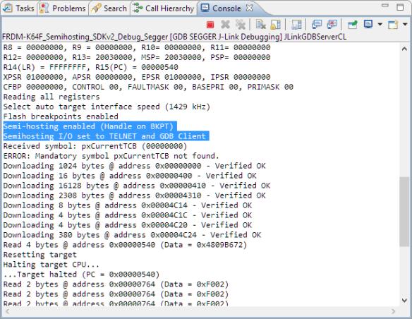 semihosting status in GDB Server