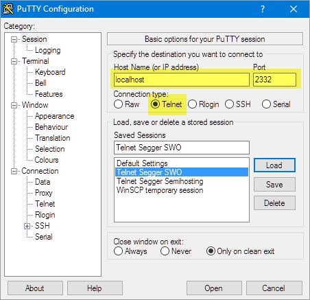 putty-telnet-session-settings