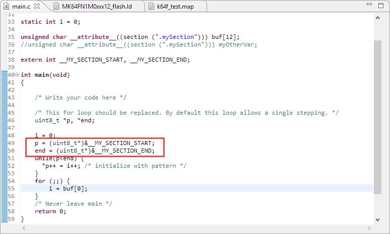 Accessing Gnu Linker Script Symbols From Cc Mcu On Eclipse
