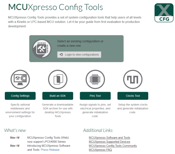 MCUXpresso Config Tools