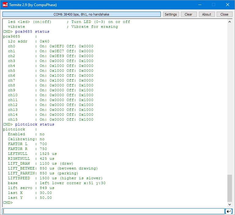sandclock status output
