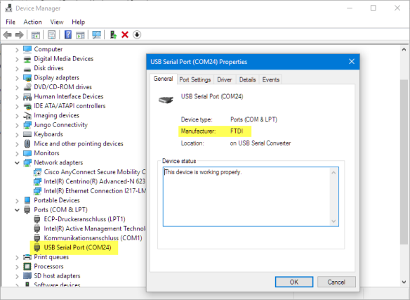 FTDI Serial Driver Installed in Windows