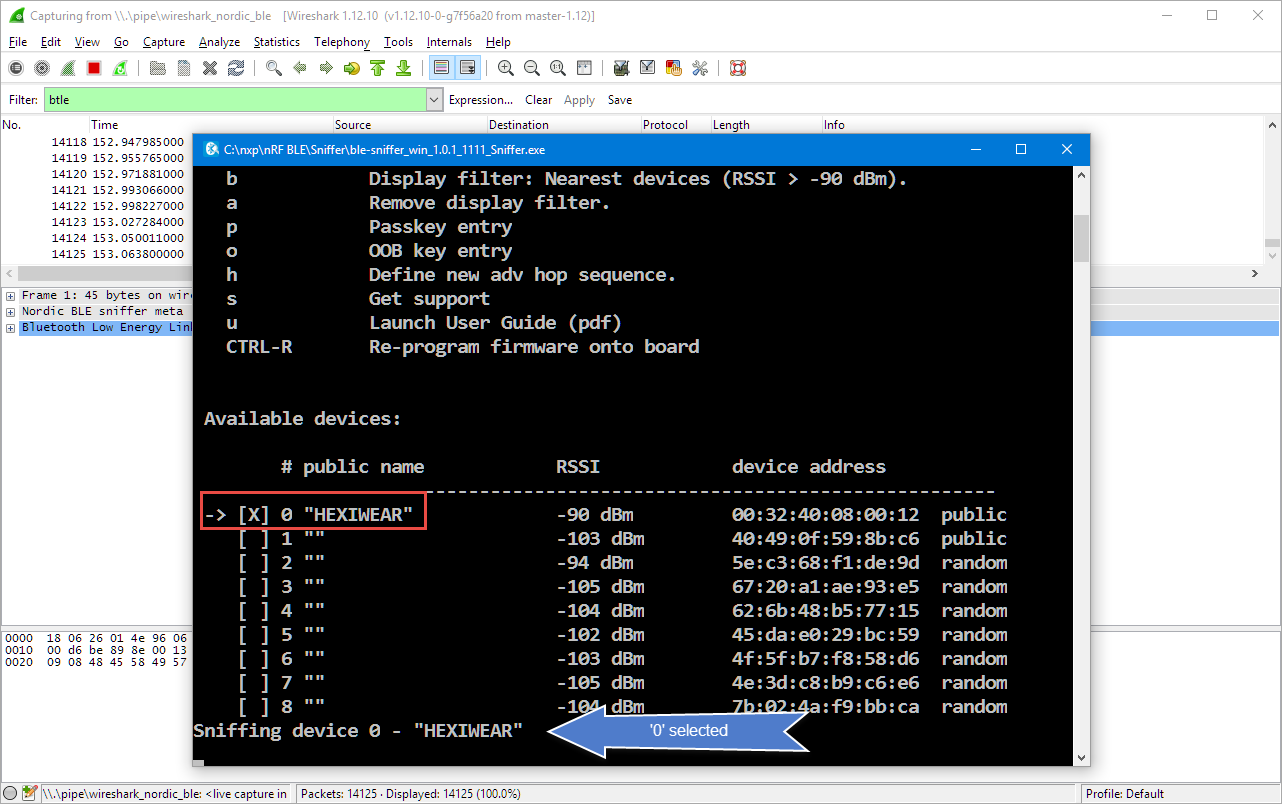 Tutorial: Hexiwear Bluetooth Low Energy Packet Sniffing with