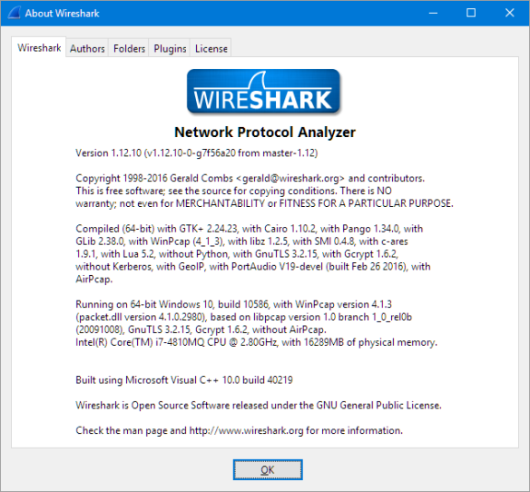 Wireshark Version Used