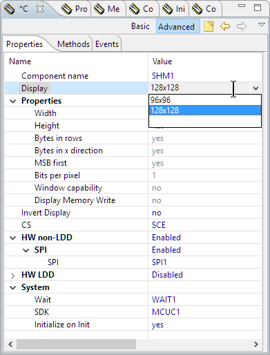 Processor Expert Display Driver Settings