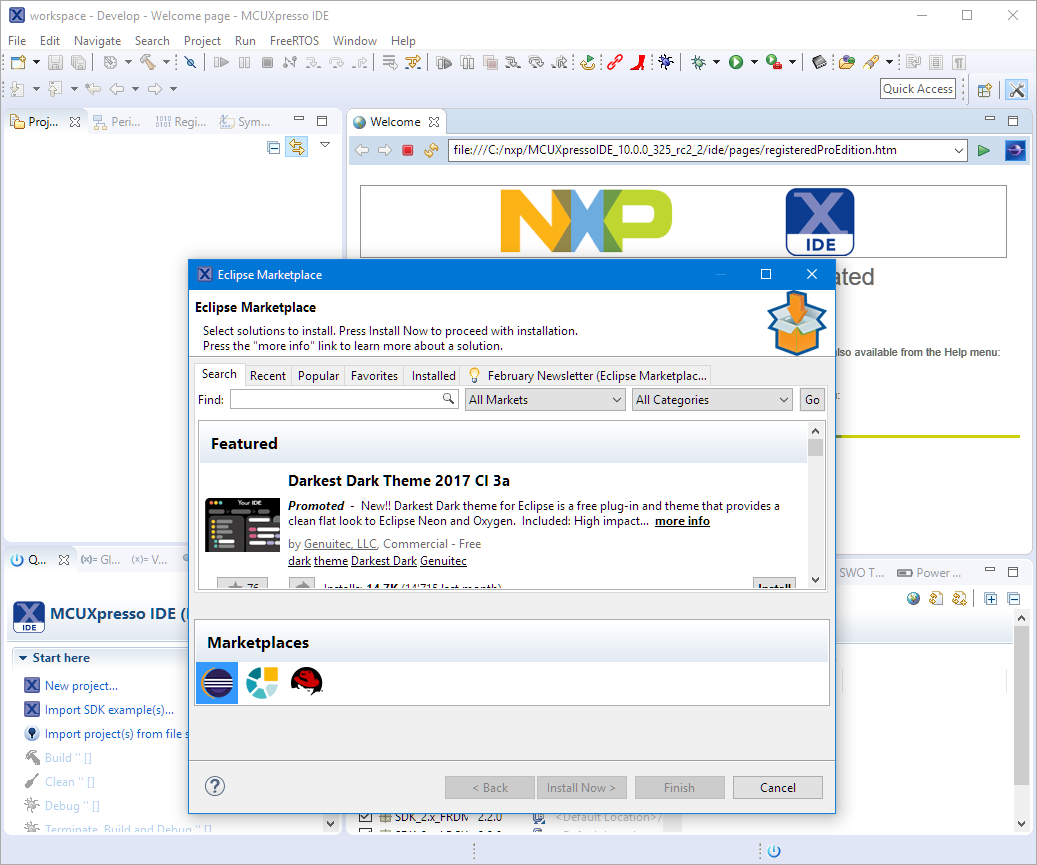 MCUXpresso IDE: Adding the Eclipse Marketplace Client | MCU on Eclipse