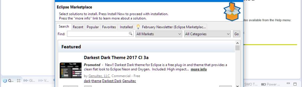 Eclipse Marketplace under Eclipse Neon and MCUXpresso IDE