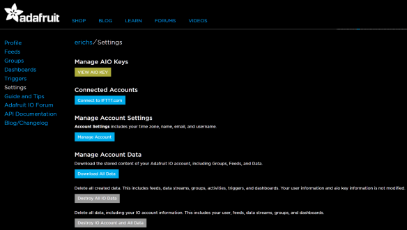 Adafruit IO Settings