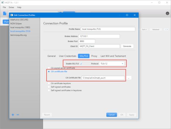 Configured Server Certificate in MQTT Client