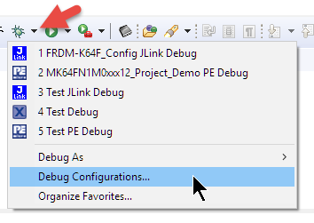 Debug Configurations Menu