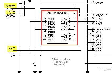 Debug part with MKL02Z32VFG4 on Teensy 3.5 and 3.6