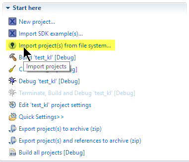 Import Projects from file system