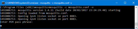 mosquitto listening on port 8883