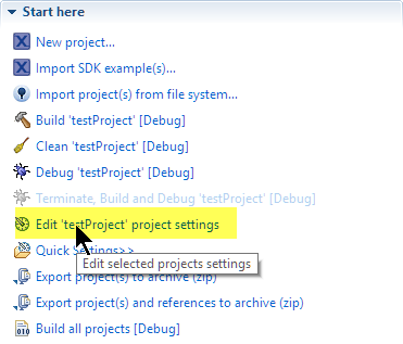 Quickstart Panel Project Settings