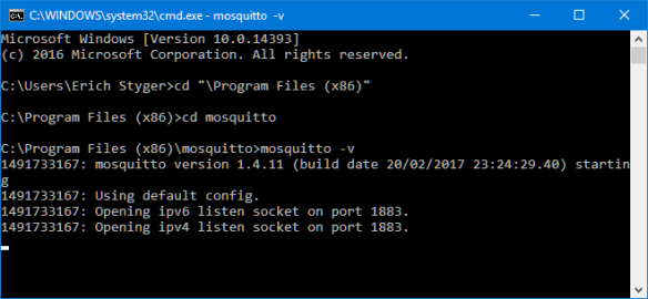 Running Mosquitto on Windows