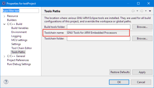 Tools Path in Project Settings