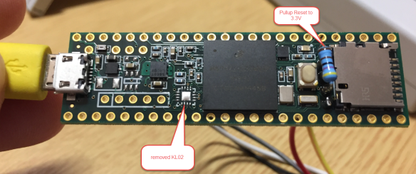 Top Side modified Teensy with pull-up and removed KL02Z