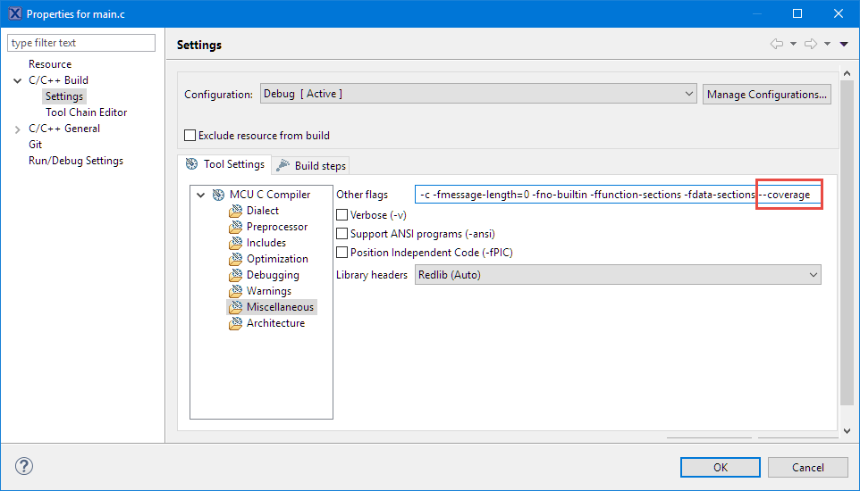 Coverage enabled for main c   MCU on Eclipse