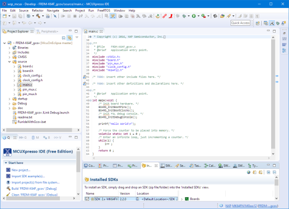 Coverage Example Project in MCUXpresso IDE