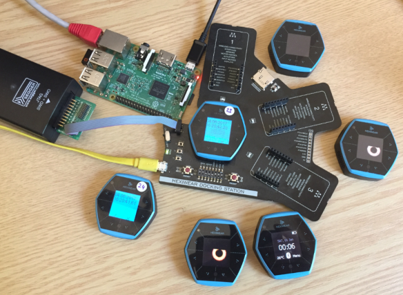 Raspberry Pi with Python controlling a set of Hexiwear BLE Devices