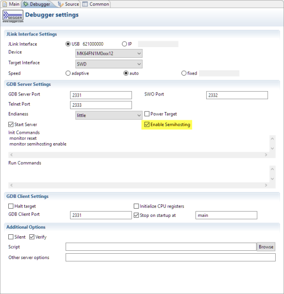 Segger with Enabled Semihosting