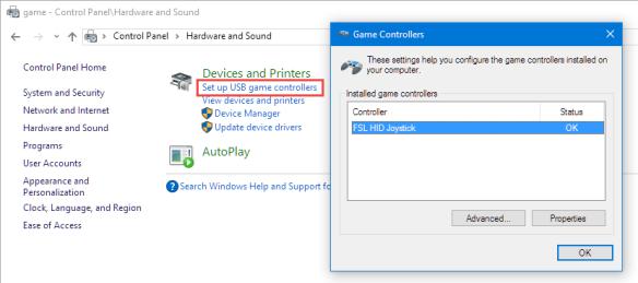 Setup USB Game Controller