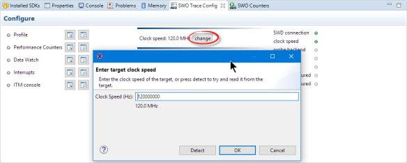 SWO Clock Speed