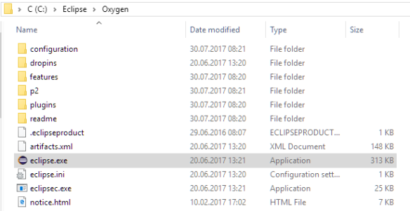 Eclipse package extracted