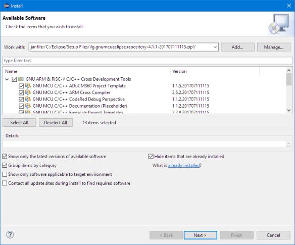Installing GNU MCU Eclipse Plugins