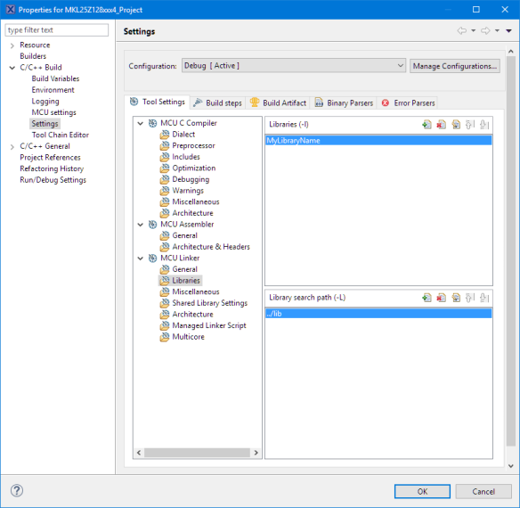Libraries for Linker (MCUXpresso IDE)