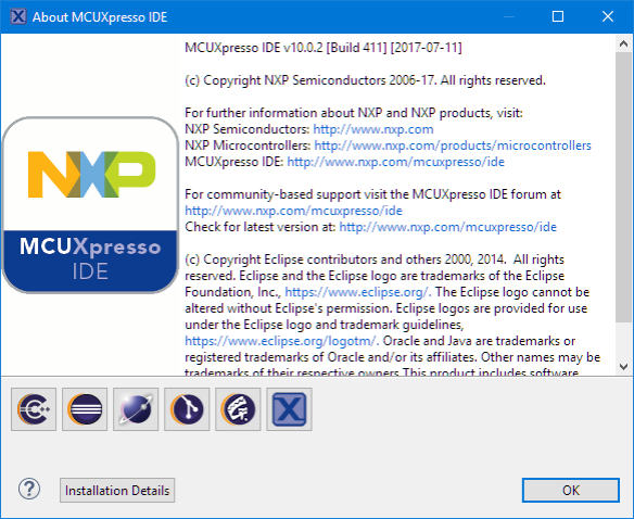 MCUXpresso v10.0.2 build 411