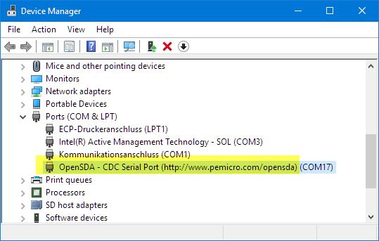 PnE OpenSDA Serial Port