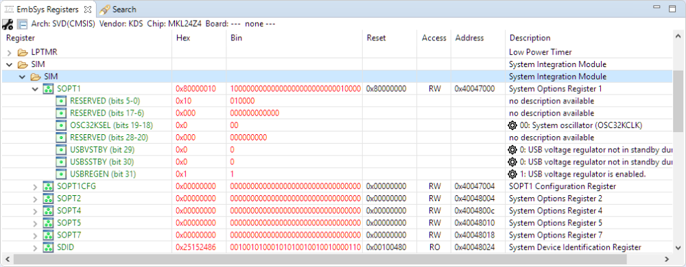 EmbSys Registers View
