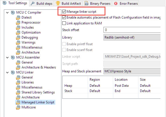 Managed Linker Script in MCUXpresso IDE