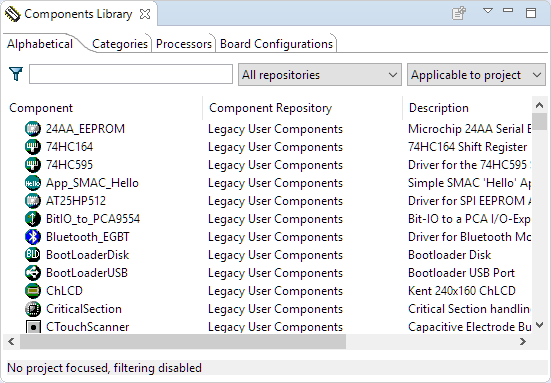 Components Library View in Eclipse