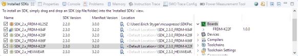 Installed SDKs