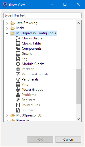 MCUXpresso Configuration Tools Integrated in Eclipse