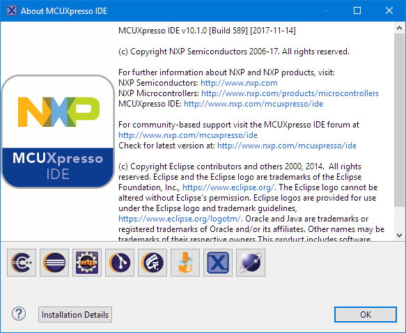 MCUXpresso IDE 10.1.0 b589 About Box