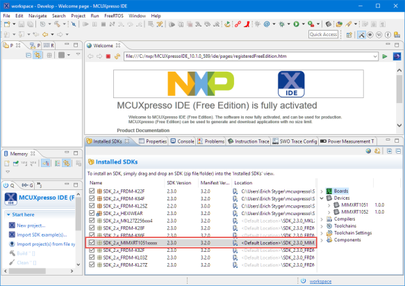 Installed SDK in MCUXpresso IDE