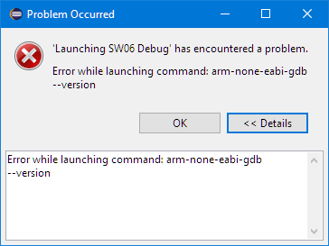 Error while launching command: arm-none-eabi-gdb --version