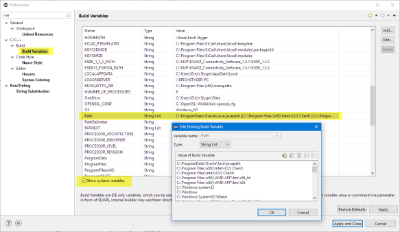 System Path in Eclipse Workspace Settings