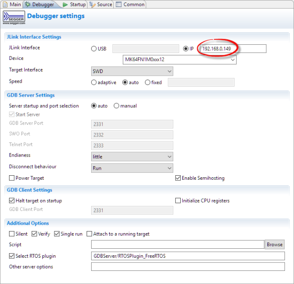 IP Address in MCUXpresso IDE Debug Configuration