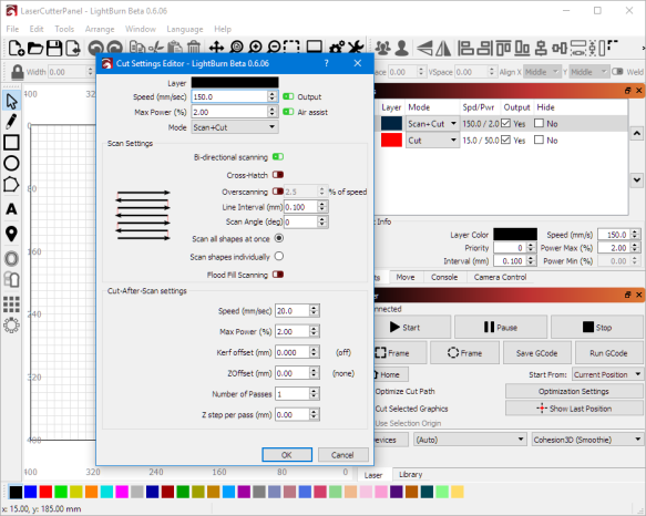 Scan and Cut Settings in LightBurn